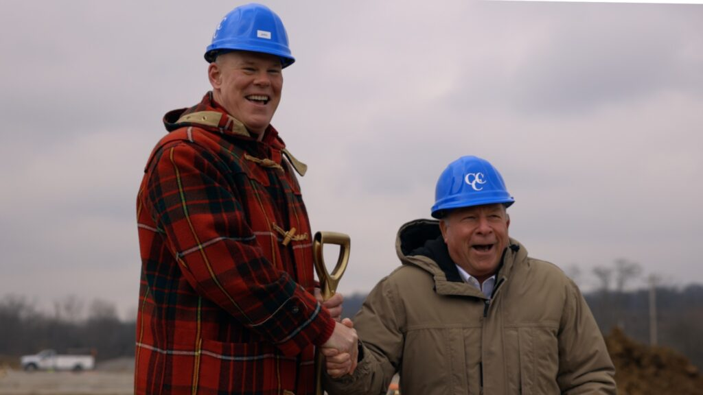 John Stoia, Pres. Hamilton Security & John Westheimer, Pres. CCC at groundbreaking for new building