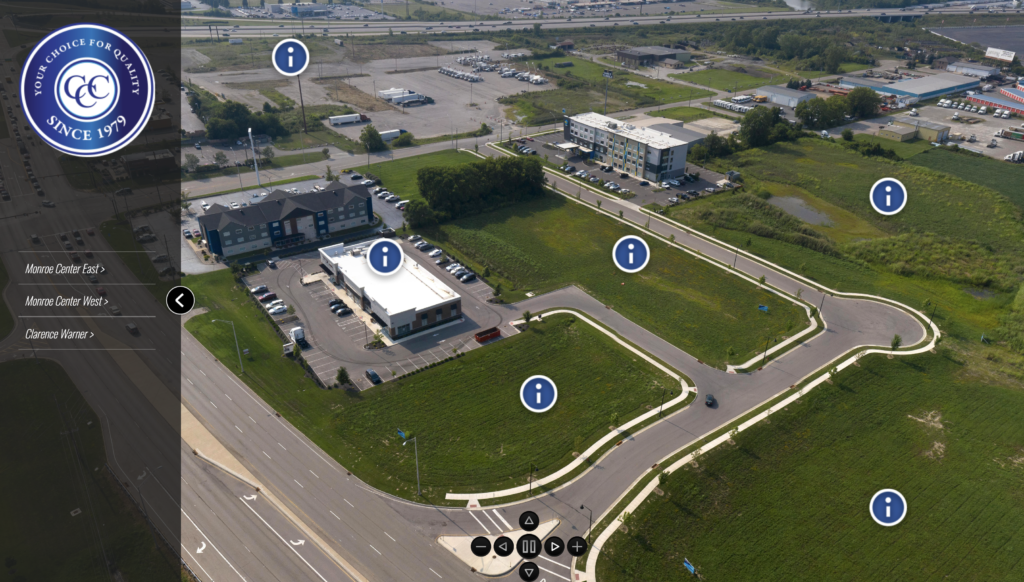 360º view of Monroe, Ohio business district for development with CCC